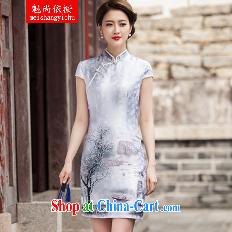 Clearly there is in accordance with Cabinet 2015 new painting classic short-sleeve cheongsam dress retro fashion China wind daily outfit L paintings