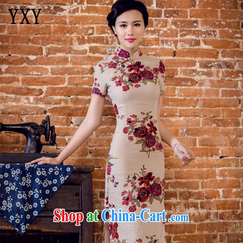 Stakeholders line cloud arts linen hand-tie short-sleeved long-dresses Lao JT 2063 full M