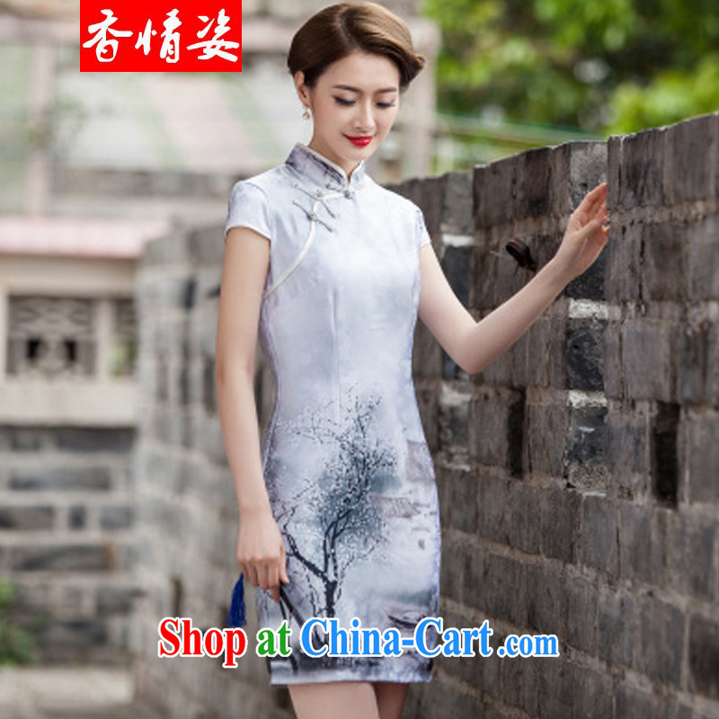 The Shannon and colorful 2015 new painting classic short-sleeve cheongsam dress retro fashion China wind daily outfit XL paintings