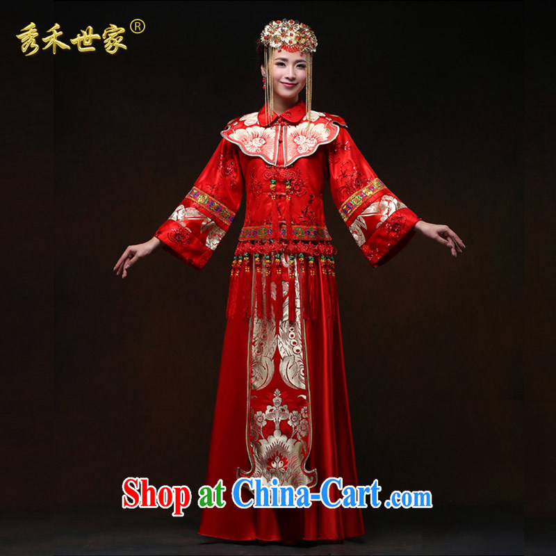 Su-wo family-soo Wo service 2015 New Red wedding dresses serving toast, Sau Wo Service Bridal Chinese marriage of Phoenix Sau kimono spring and summer red XS No.