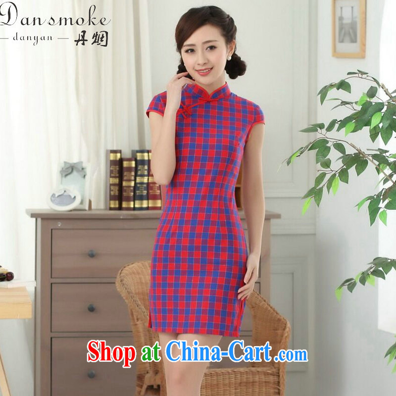 Bin Laden smoke-free summer wear new dress Chinese cheongsam Chinese clothing improved, for a tight cotton Plaid Short outfit such as the color S