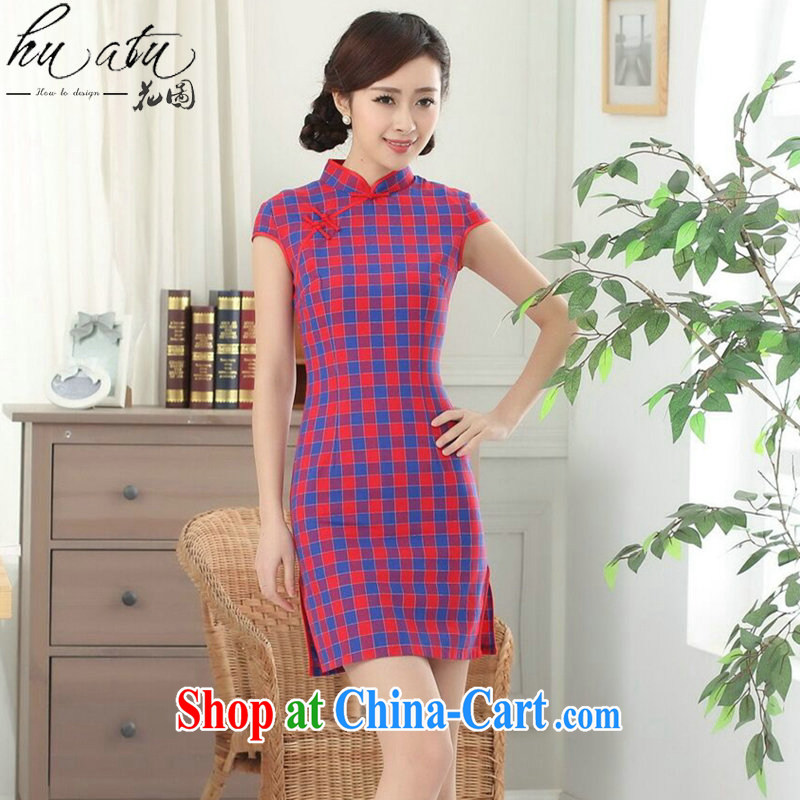 spend the summer new dress Chinese cheongsam Chinese clothing improved, for a tight cotton Plaid Short outfit such as the color 2 XL
