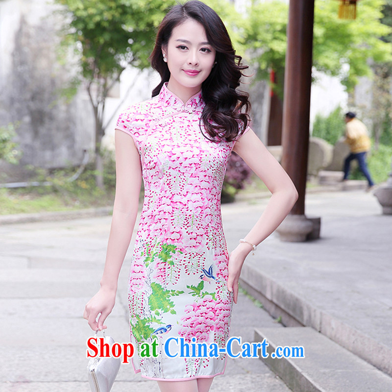 The product is still not thick 2015 new Chinese improved dress short-sleeved Ethnic Wind antique cheongsam dress of saffron xxl