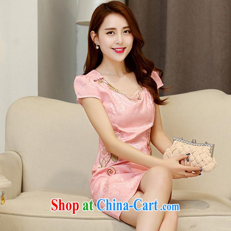 UYUK 2015 summer dress new ethnic wind Chinese stamp retro beauty charm graphics thin short-sleeve package and cheongsam dress pink XXL