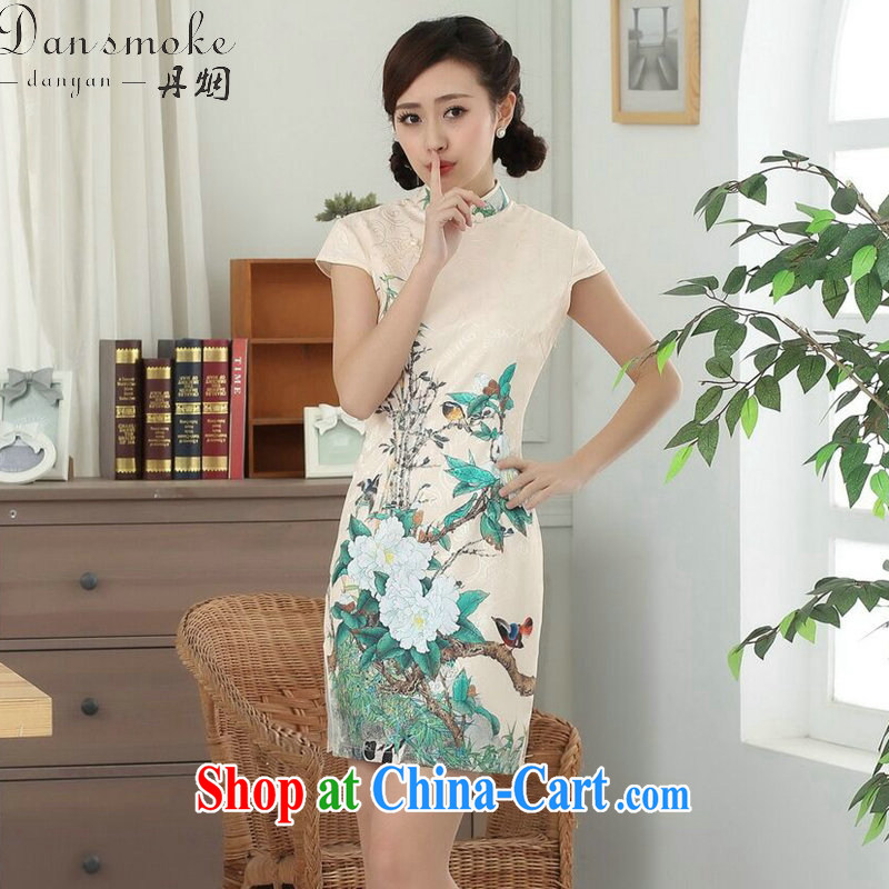 Dan smoke new summer female elegant Chinese flower cheongsam Chinese improved cotton is a tight video thin short cheongsam as shown color 2 XL