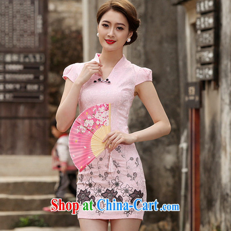 fragrance and beauty 2015 new stylish retro short dresses summer improved cheongsam dress, daily outfit skirt pink XL