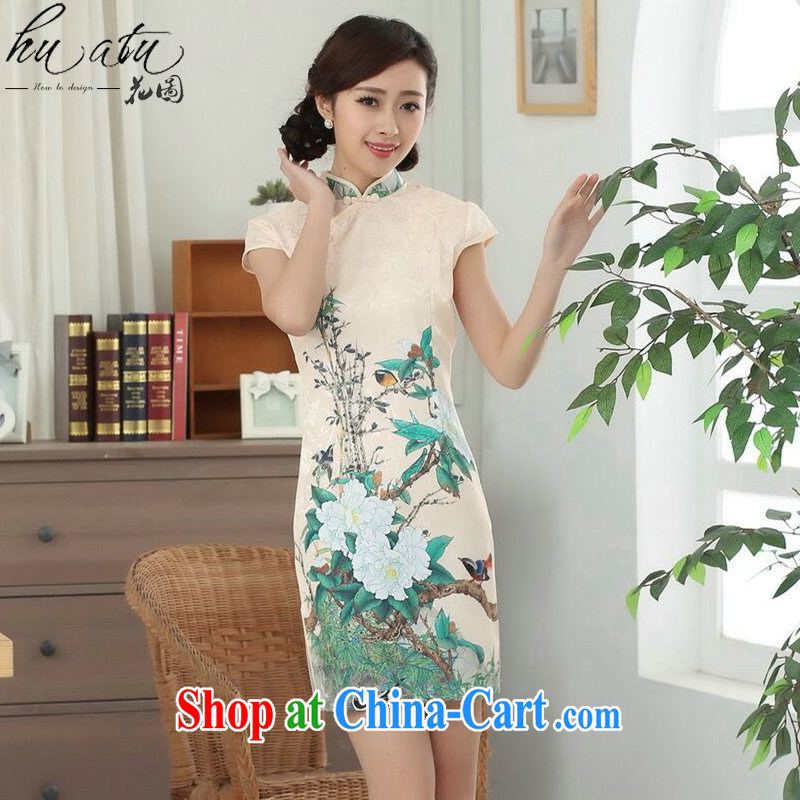 Take the new summer dress elegant Chinese flower cheongsam Chinese improved cotton is a tight video thin short cheongsam as shown color 2 XL