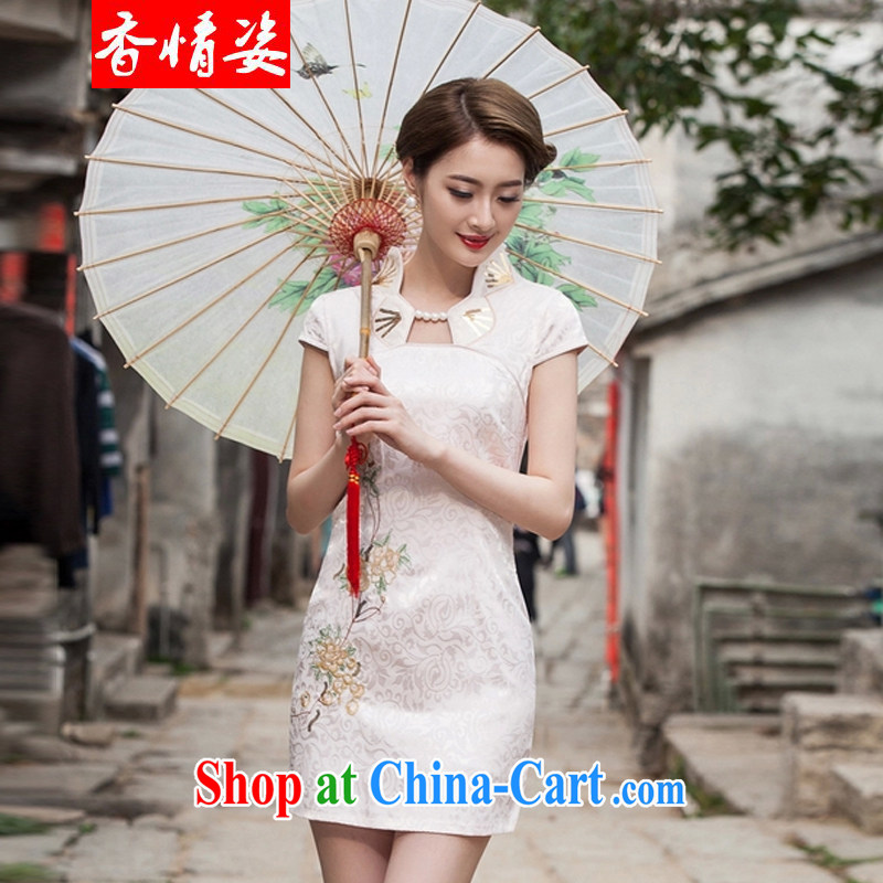 fragrance and beauty 2015 new summer fashion improved cheongsam dress daily video thin beauty short cheongsam dress, apricot XL