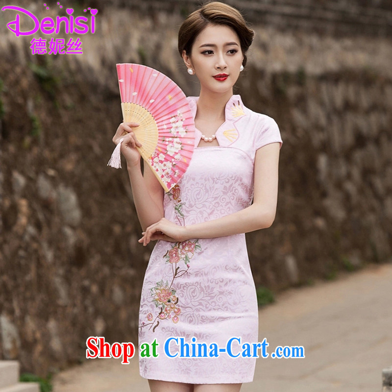 Connie, population 2015 summer stylish improved cheongsam dress daily video thin beauty short cheongsam dress, 1122 pink XL