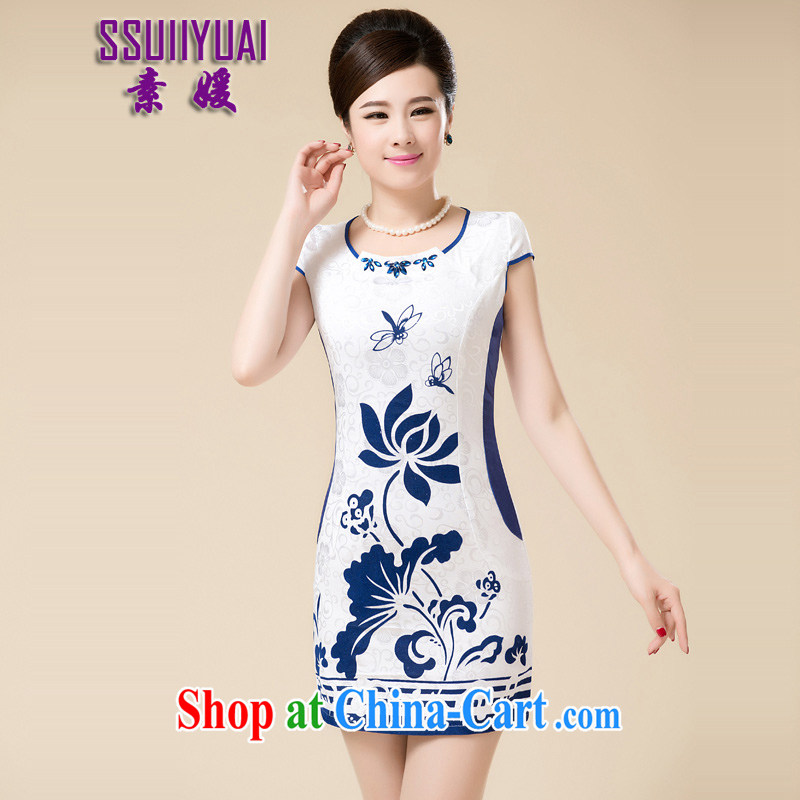 Pixel-yuan 2015 new improved retro daily outfit video thin Lotus embroidery beauty, summer short cheongsam dress cheongsam MOM blue XL