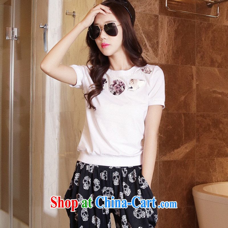 The European site summer 2015 women with new stylish 100 ground round-collar short-sleeve shirt T 3116 white XL, blue rain bow, and, shopping on the Internet