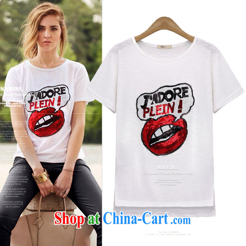 The European site summer 2015 women fashion, red lips stamp round-collar short-sleeve shirt T 3593 black XL