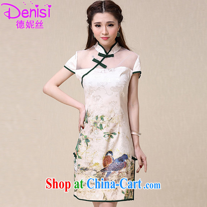 De Anne's 2015 spring and summer New China wind National wind cultivating high-end elegant dresses cheongsam dress 8952 picture color XL