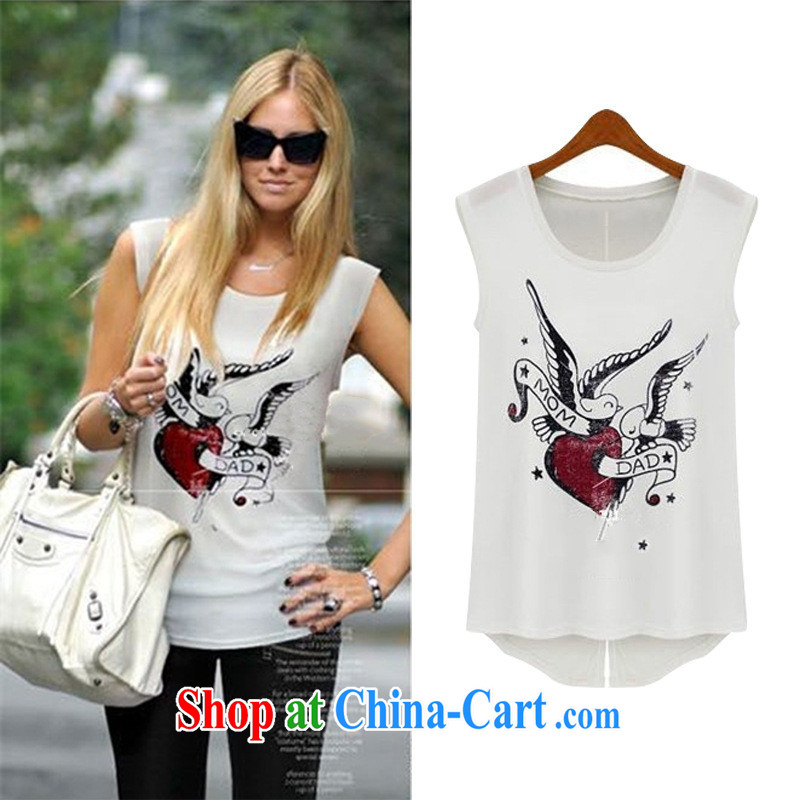 2015 European site summer female T shirts sleeveless cotton shirt T European Women stamp T pension 5320 white XL
