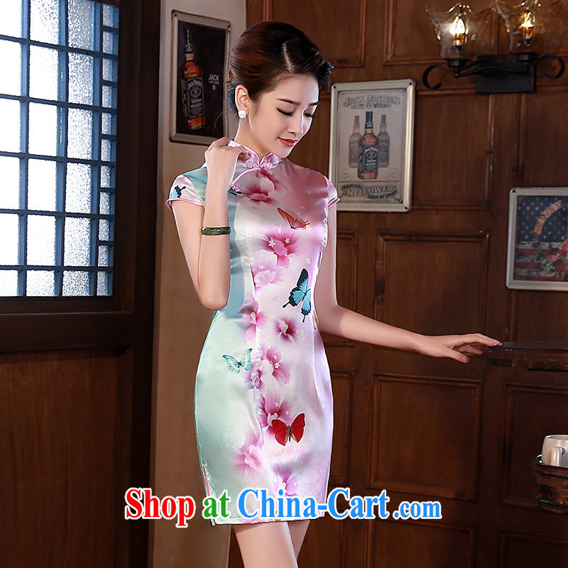 cheongsam dress spring 2015 new retro silk heavy Silk Cheongsam beauty dresses Q 1062 fancy XXL