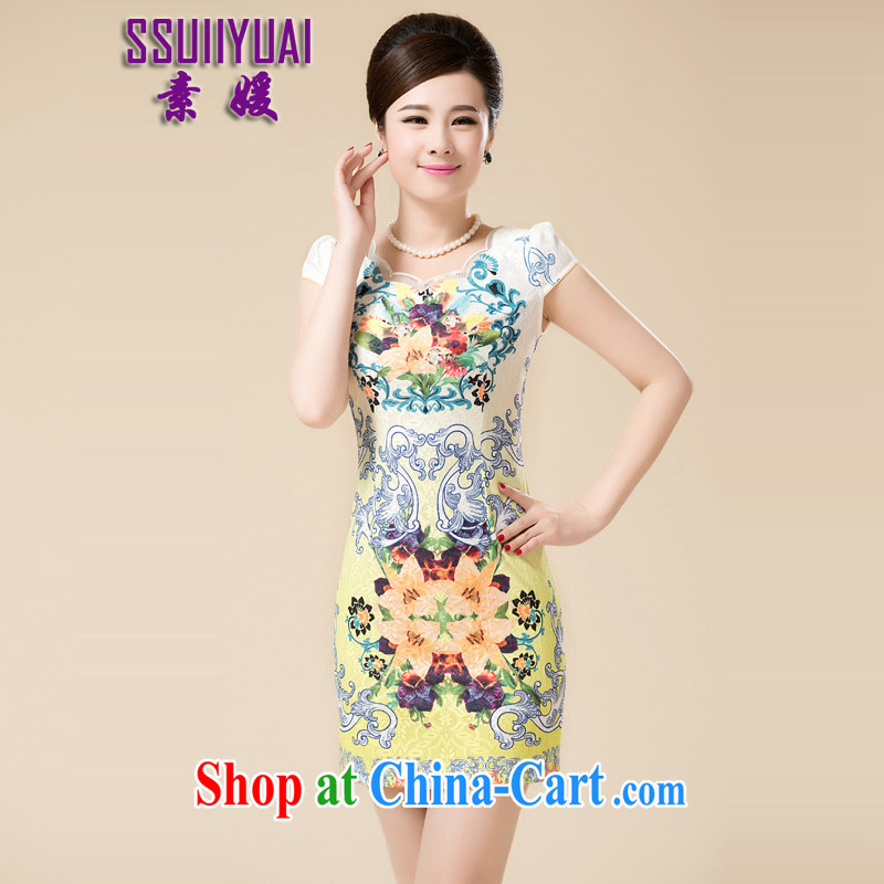 Pixel-yuan 2015 spring and summer, the middle-aged mother with antique Chinese improved stylish everyday dresses short dresses, cheongsam cheongsam dress yellow L