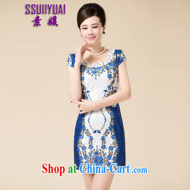 Ha Ji-won of new summer dresses, short stylish improved daily cheongsam dress lace antique Chinese graphics thin elegant and noble dress cheongsam blue 3 XL