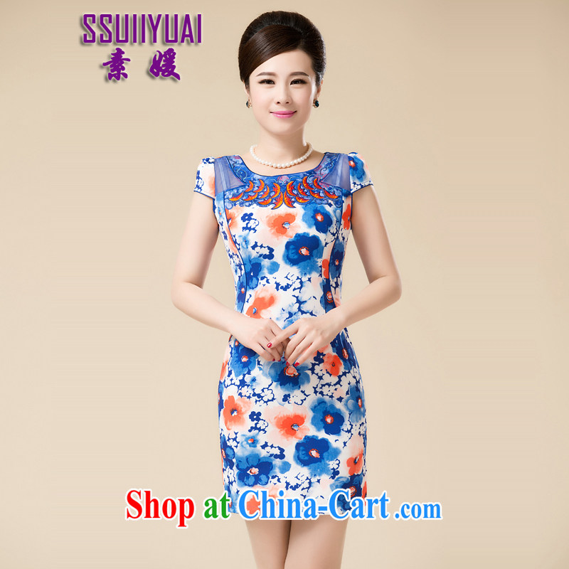 Of 2015 Yuan new summer beauty stylish retro improved national wind short cheongsam dress blue and white porcelain cheongsam dress lace female middle-aged mother blue 3 XL