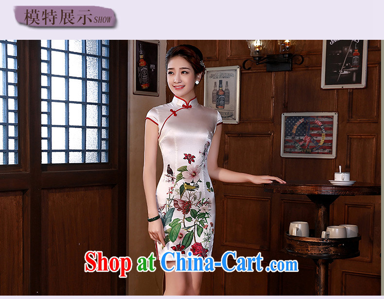2015 modern improved cheongsam dress Chinese cheongsam summer sauna silk heavy silk pink Q 1064 fancy XXL pictures, price, brand platters! Elections are good character, the national distribution, so why buy now enjoy more preferential! Health