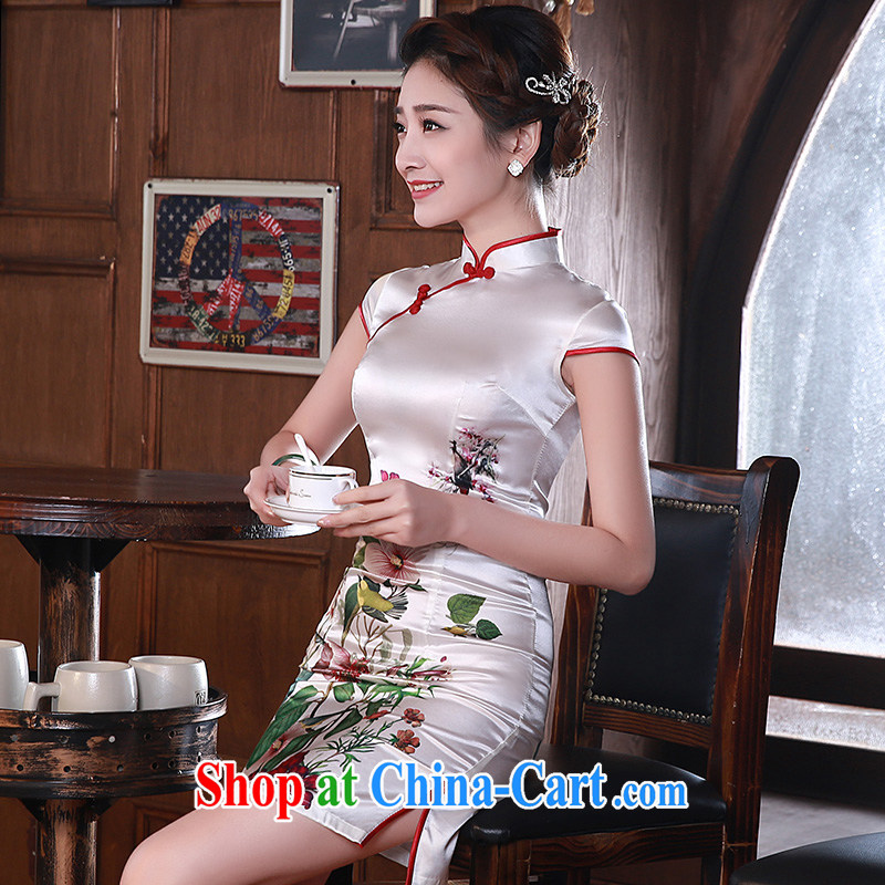 2015 modern improved cheongsam dress Chinese cheongsam summer sauna silk heavy silk pink Q 1064 fancy XXL