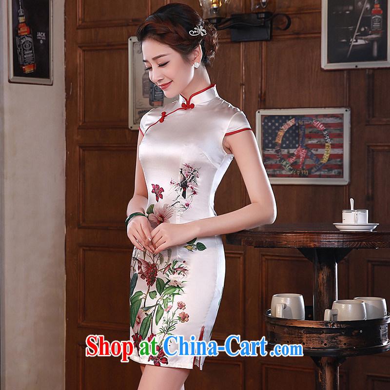 2015 modern improved cheongsam dress Chinese cheongsam summer sauna silk heavy silk pink Q 1064 XXL suit, Jessica (jessica han), shopping on the Internet