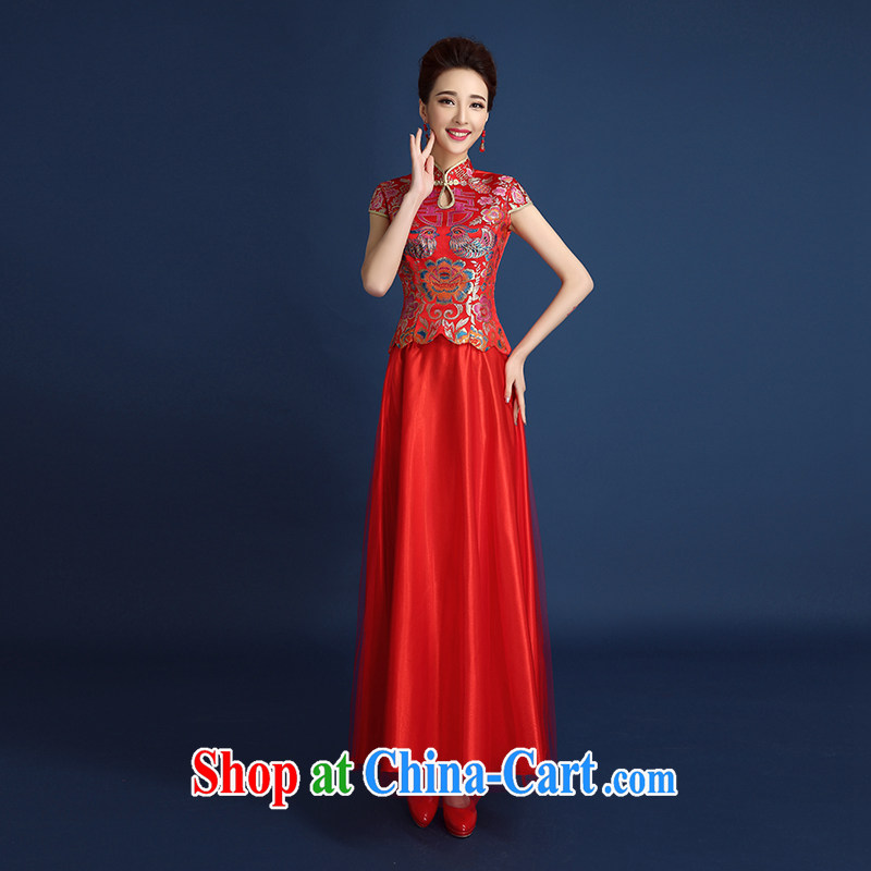 2015 new high quality spring and summer red Chinese bride Xiao Fengxian wedding dresses long dresses, bows serving short-sleeved red XXL