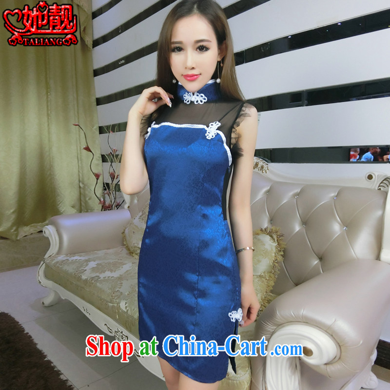 Her beautiful 2015 new stylish sexy retro Web yarn current forwarding side on the truck outfit package and back exposed dress 0672 picture color code