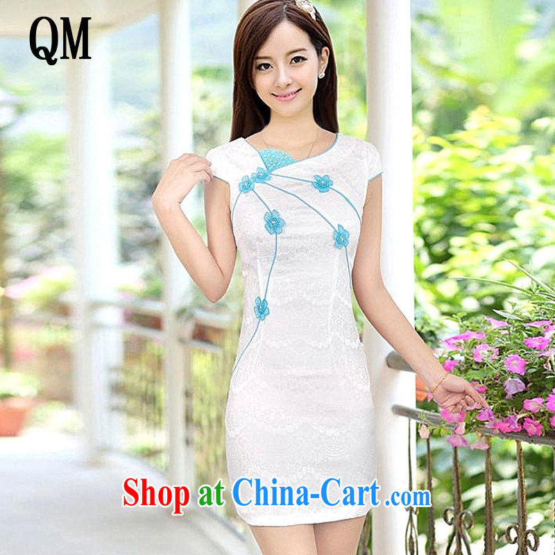 light at the Summer sweet cute girl cheongsam short retro fashion cheongsam dress, dresses, 8030 AQE white XXL