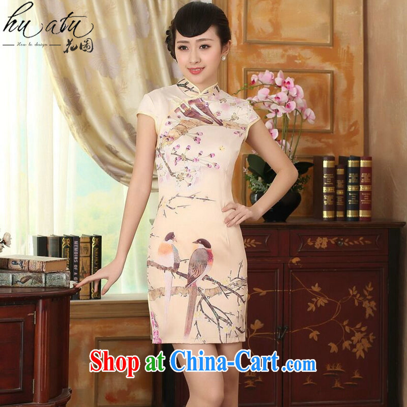spend the summer cheongsam dress Chinese Chinese improved, for a tight flower damask retro short dresses such as the color 2 XL