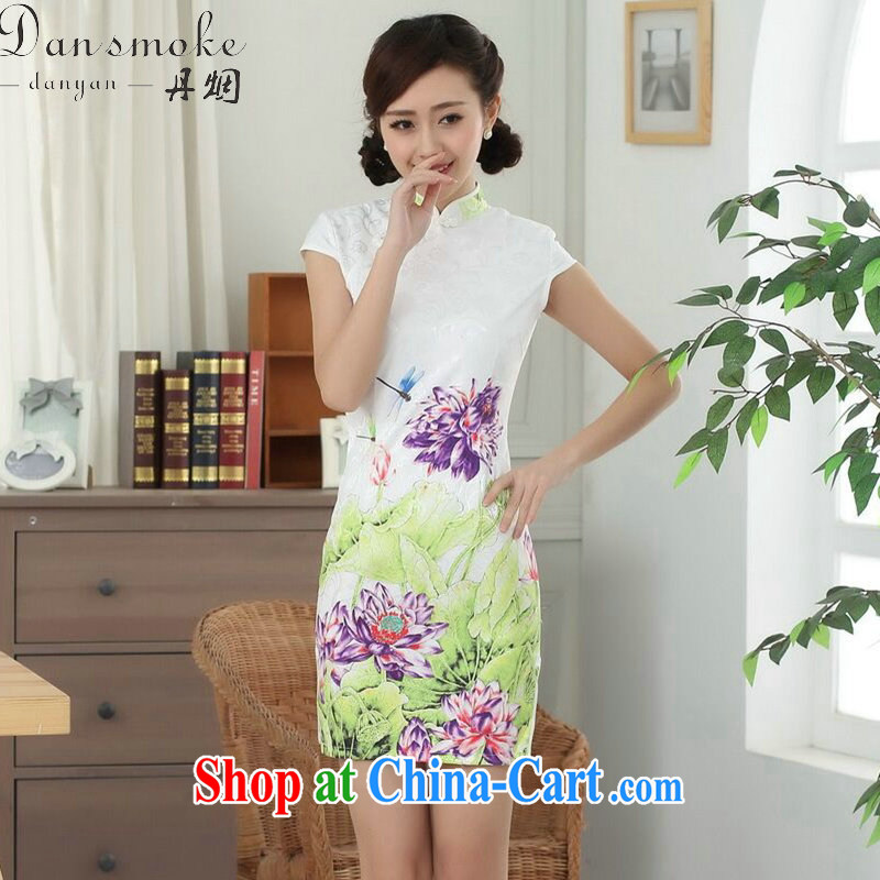 Bin Laden smoke summer new female cheongsam Chinese Tang is improved, for a tight cotton Lotus graphics thin short cheongsam as shown color 2 XL