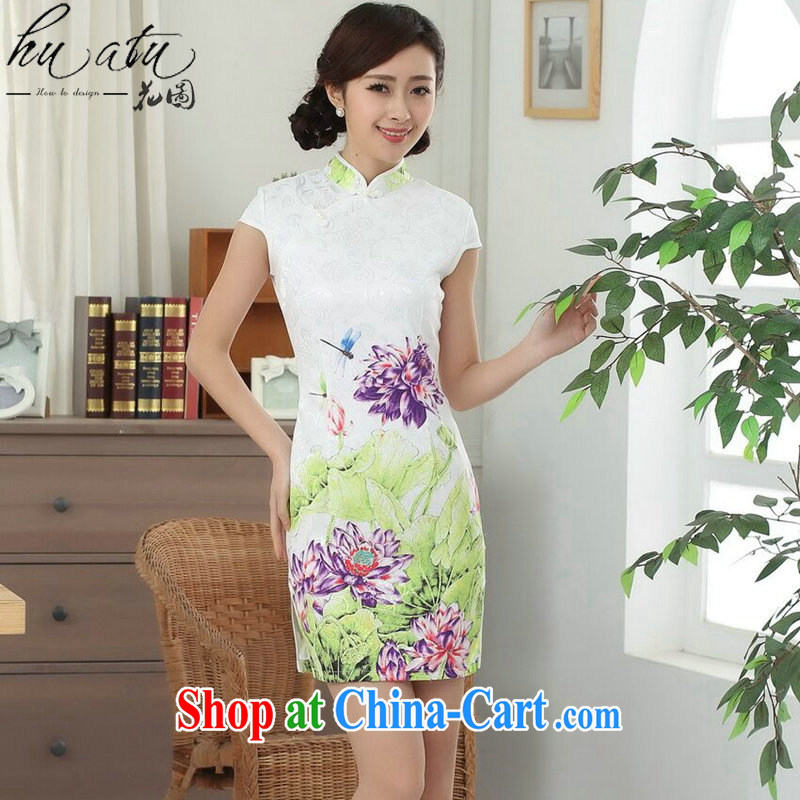 spend the summer new female cheongsam Chinese Tang is improved, for a tight cotton Lotus graphics thin short cheongsam figure color 2 XL