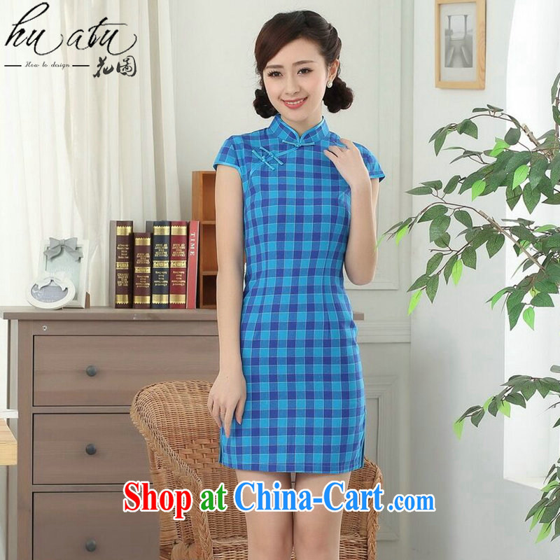 spend the summer new cheongsam dress Chinese Chinese improved Korea wind up for a tight tartan cotton short cheongsam figure color 2 XL