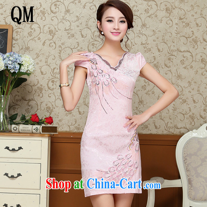 Shallow end embroidery Peacock jacquard cotton cheongsam Chinese Antique improved daily short-sleeved qipao dresses AQE 9038 pink XXL
