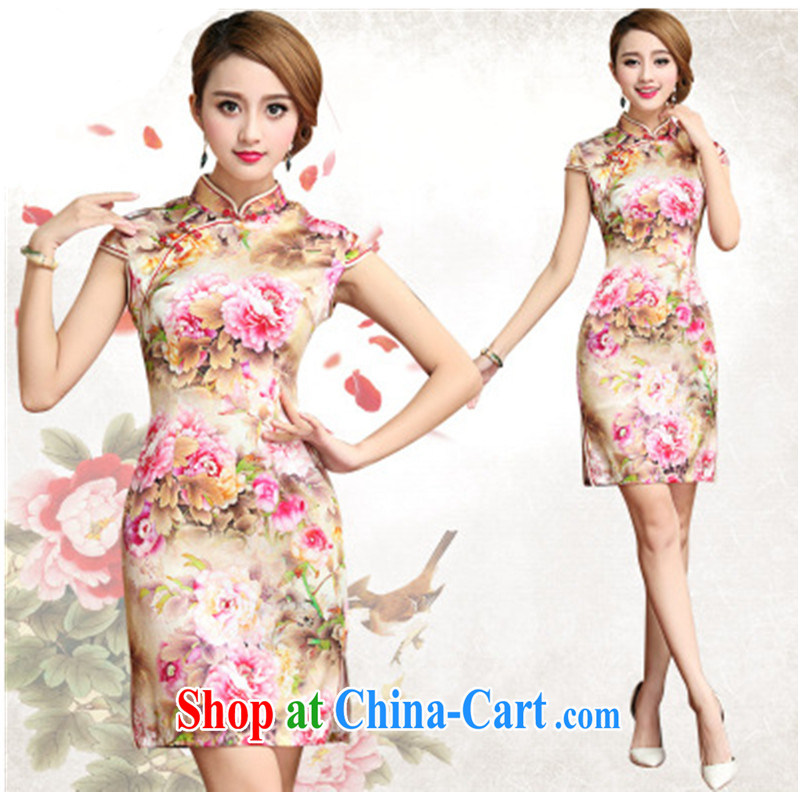 peony flower Silk Cheongsam retro improved daily sauna Silk Cheongsam dress summer 2015 new suit XXL