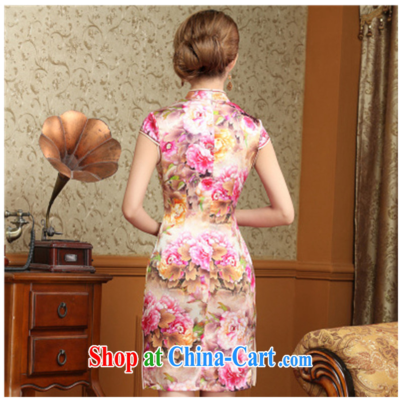 peony flower Silk Cheongsam dress retro improved daily sauna Silk Cheongsam dress summer 2015 new suit XXL, adfenna, shopping on the Internet