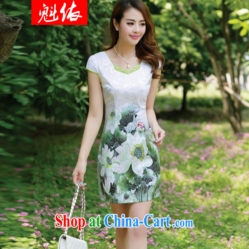 According to Quebec 2015 new products, female stamp dresses summer short-sleeved beauty retro national dresses package and emerald XL