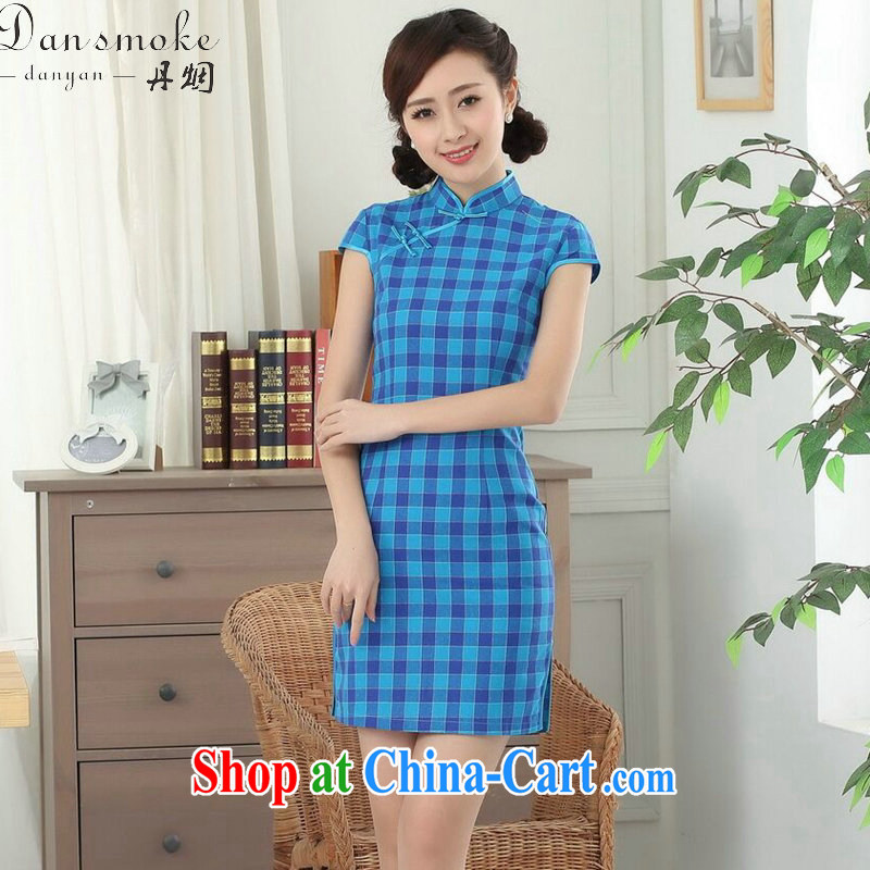 Bin Laden smoke summer new cheongsam dress Chinese Chinese improved Korea wind up for a hard-pressed checkered cotton short qipao such as the color 2 XL