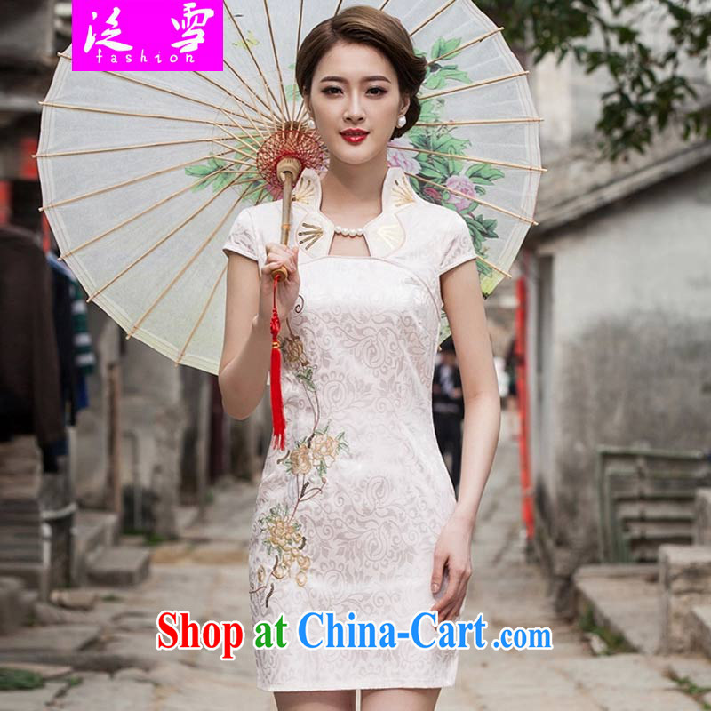 Snow and summer 2015 new stylish cheongsam dress graphics thin beauty short cheongsam dress, 1122 apricot XL