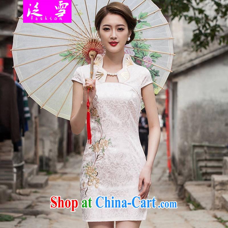 Snow and summer 2015 new stylish cheongsam dress graphics thin beauty short cheongsam dress, 1122 apricot XL
