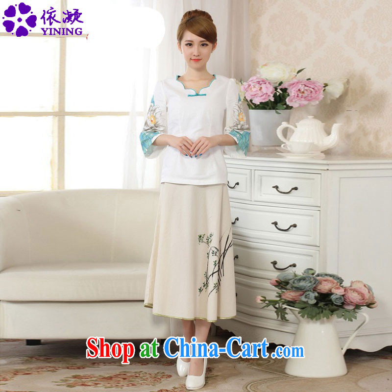 According to fuser summer stylish new linen hand-painted Ethnic Wind horn sleeved shirt + body skirts Tang load package LGD/A 0066 #package P 0011 #2 XL
