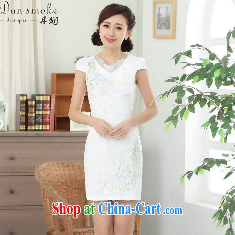Bin Laden smoke new summer female Chinese qipao cotton Chinese improved V hole for Tail Lights, short cheongsam dress white 2XL