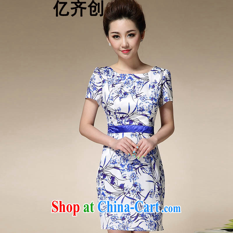 100 million new 2015 Sau San antique porcelain was Korean, qipao dresses summer new short-sleeved cheongsam dress picture color XXXL