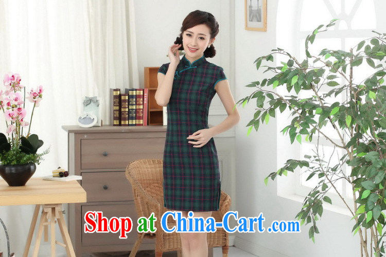Dan smoke cotton tartan dresses summer new female Chinese improved Korea wind up for a hard-pressed Chinese qipao short figure color 2 XL pictures, price, brand platters! Elections are good character, the national distribution, so why buy now enjoy more preferential! Health