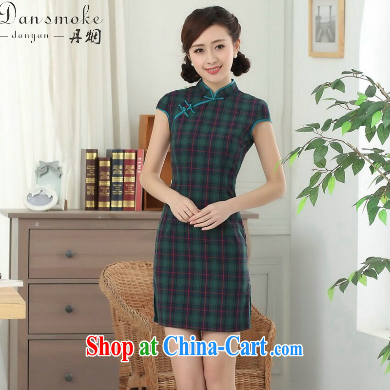 Dan smoke cotton tartan dresses summer new female Chinese improved Korea wind up for a hard-pressed Chinese qipao short figure color 2 XL