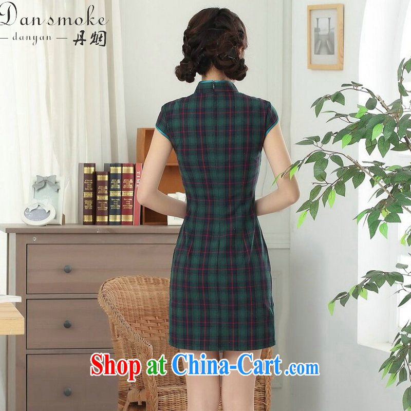 Dan smoke cotton tartan dresses summer new female Chinese improved Korea wind up for a hard-pressed Chinese qipao short as the color 2 XL, Bin Laden smoke, shopping on the Internet