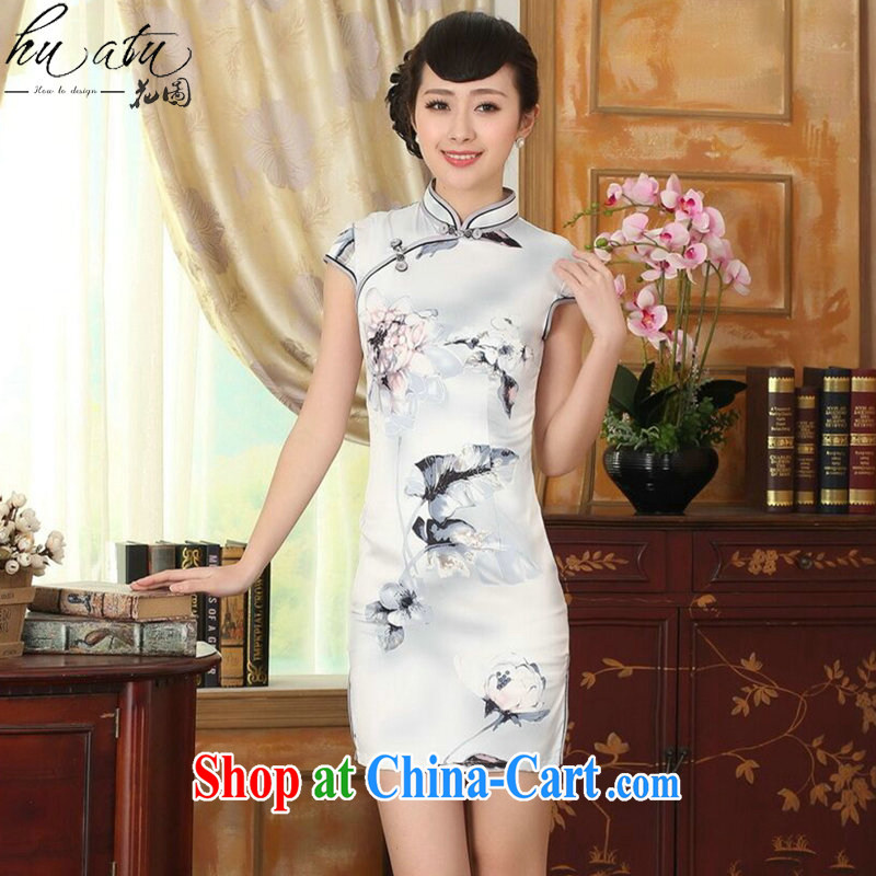 spend the summer new cheongsam dress Chinese Antique improved, for a tight silk paintings short cheongsam dress such as the color 2 XL