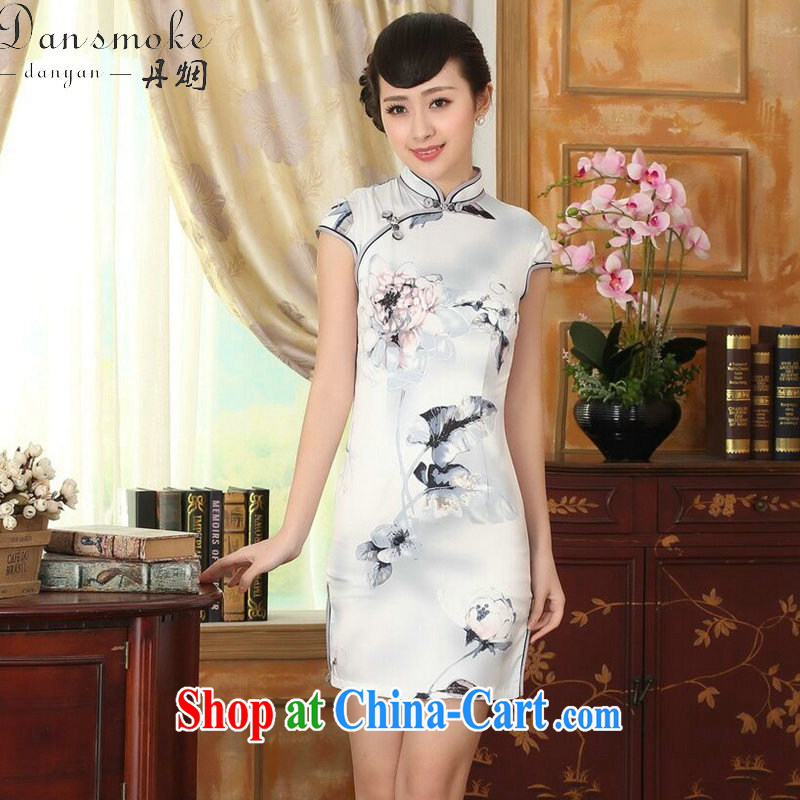 Dan smoke summer new cheongsam dress Chinese Antique improved, for a tight silk paintings short cheongsam dress such as the color 2 XL