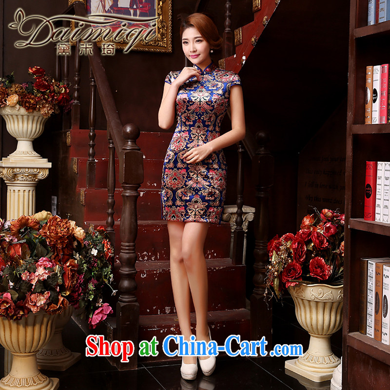 Dresses summer dresses improved her mother-in-law MOM wedding with summer dresses and stylish wool short-sleeve mother married cheongsam dress toast blue XXL