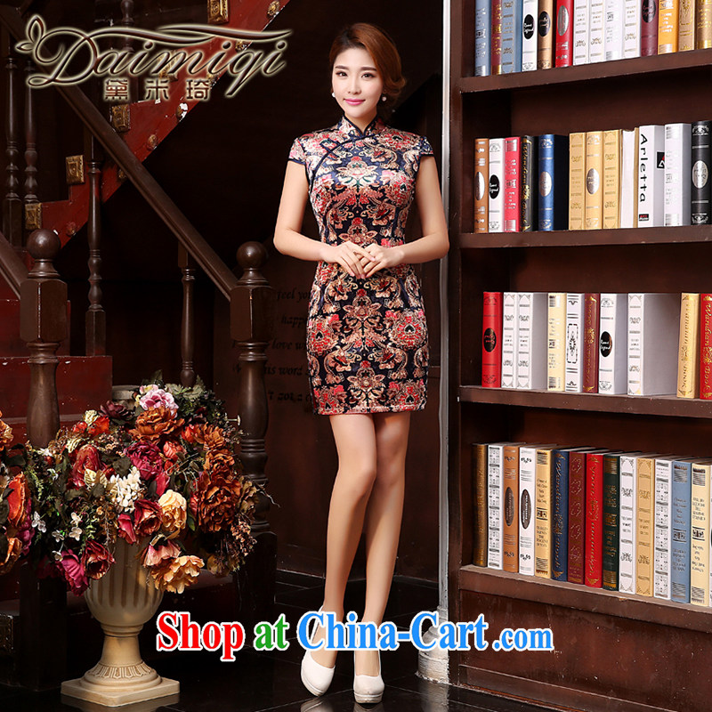Dresses summer dresses skirts 2015 spring and summer new high-end heavy dresses and elegant stamp female cheongsam dress brown XXL
