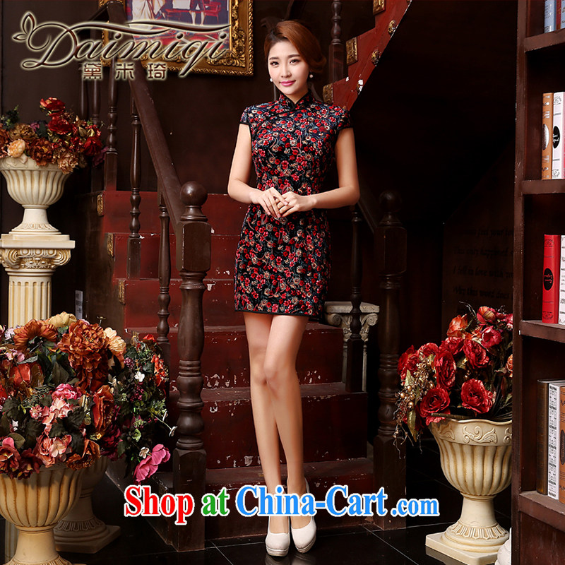 Dresses summer dresses skirt new improved stylish and elegant beauty style short cheongsam dress spring and summer red XXL